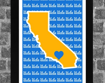 UCLA Bruins Heart College California Sports Print Art 11x17