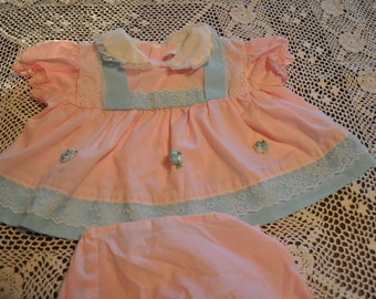 Vintage Pink Baby Girls Outfit, Lacy Accents