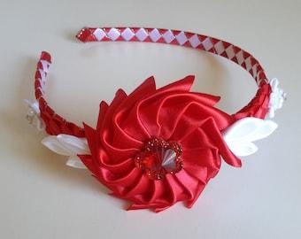 Red and white headband, Girls headband, Accesories, Hard headband