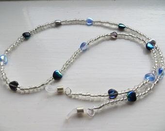 Eyeglass retainer, eyeglass neck cord, glasses accessories, glass heart, black, silver, blue.(MTO0016)