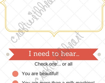 DIGITAL DOWNLOAD: Last Feeding Tracker, New Mom Gift, new baby, newborn, nursing, I need to hear..., unique gift, baby shower gift