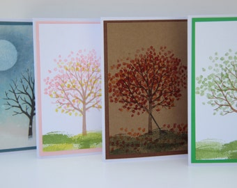 Tree Card Set.  4 Seasons Card Set.  Seasonal Tree Greeting Cards.  Tree Note Cards.  Tree Thank You Cards.  Winter, Spring, Summer, Fall