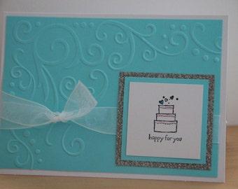 Wedding Greeting Card. Wedding Cake Card.  Embossed wedding card. Glitter Wedding Card. Bridal Shower Card. Engagement Card.Gift Card Holder