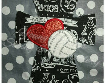 Raggy Cross Heart Volleyball 5x7 Embroidery Design