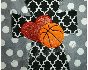 Raggy Cross Heart Basketball 5x7 Embroidery Design