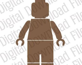 Vector Stencil Graphic - DD208 Lego Man Style Vector - DIGITAL DOWNLOAD - Ai & Svg formats - Fully Editable Vinyl Ready Image, Toy Bricks