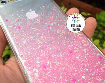 Rose Gold Ombre Glitters Handmade Sparkle Fading Transparent Phone Case 5/5s/6/6s/6s plus for iPhone & Samsung s5/s6/s6 , glitter case