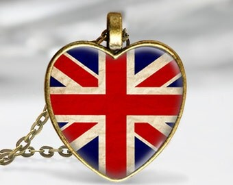 British Flag Heart Pendant, British flag Heart Necklace, Photo image pendant, UK Flag, Patriotic Necklace, gift for women and teens