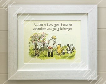 Winnie the Pooh QUOTE PRINT, Birth, Christening, Nursery Picture Gift, Pooh Bear, *UNFRAMED* Beautiful Gift, Piglet, Adventure