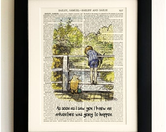 ART PRINT on old antique book page - Winnie the Pooh, Christopher Robin, Bridge, Vintage, Wall Art Print, Encyclopaedia Dictionary Page