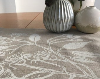Linen table runner, Screen printed linen table runner, hand printed table runner, Australian Eucalypt