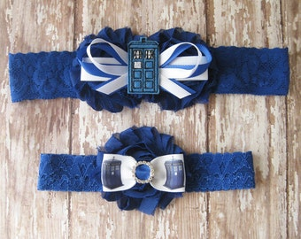 Police Box Garter Set | Blue and White Something Blue Callbox Wedding Garters | Bridal Garter and Toss Garter