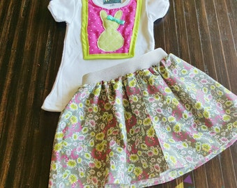 Easter Floral Outfit - Easter Top and Skirt - Bunny Top and Skirt