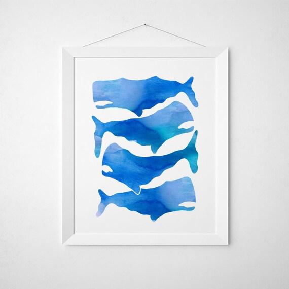 White Whale Wall Decor : Whale print nursery decor blue and white nautical