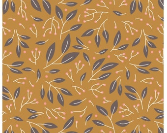 Magnolia Marigold Sprigs By Designer Alisse Courter Fabric Sold By the Half Yard
