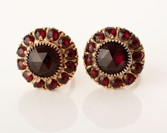 Vargas Garnet Red Rhinestone Screw Back Earrings, 1940s/50s