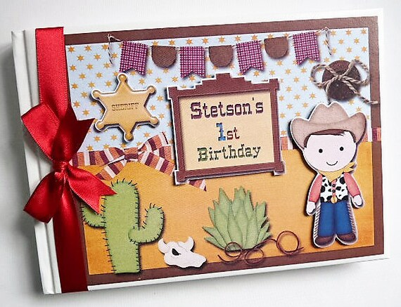 Cowboy theme birthday guest book personalised memory book for J bathrooms westcliff
