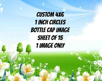Customized 4x6 1 Inch Circles Bottle Cap Image Sheet 1 Image Only