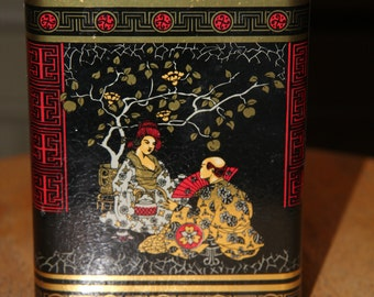 Colorful tin can, oriental motif, made in England, flip top