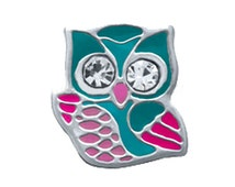 Teal Blue Wise Owl CZ stone Stainless steel Floating charm for glass living memory lockets charm pendant/Wise Owl locket charm