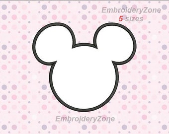 Head Mickey Mouse. Applique machine embroidery design. Instant Download. Hoop 4x4 6x10 & 5x7. Five sizes. Symbol of Disney