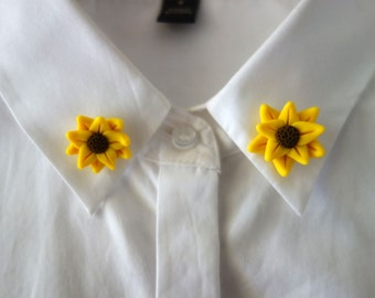 Sunflower Collar Pins - Handmade Polymer Clay - Set of 2