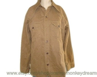 vintage 1970's LEVI heavy KHAKI western cowboy oxford button downs shirt light jacket rivet buttons large made in usa