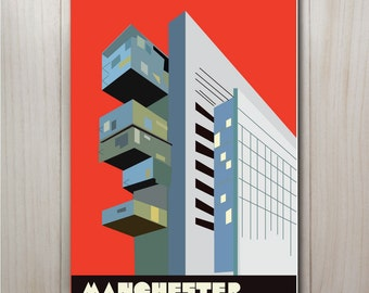 Manchester Civil Justice Centre Print in red, Manchester Print, Manchester poster, Manchester gift, Manchester art