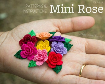 CROCHET PATTERN - Mini Crochet Flower Pattern - Small Crochet Rose Applique Pattern - Easy Crochet Flower Pattern - Crochet Rose Pattern