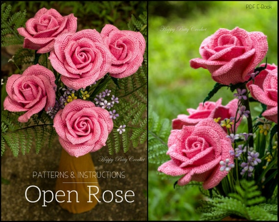 Crochet Rose Pattern - Crochet Flower Pattern for Bouquets and Flower Arrangements - Flower Crochet Pattern