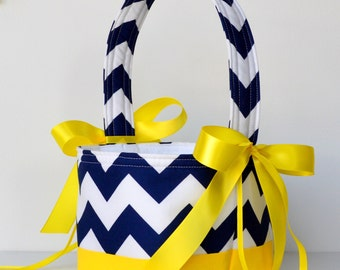 Navy Blue Chevron custom color block basket, your choice of color block base and ribbon color, shown in canary yellow base and lemon ribbon