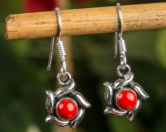 Red Coral Floral Sterling Silver Earrings - Red Floral Earrings, Red Coral Earrings, Red Coral Drop Earrings, Red Flower Earrings