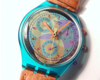 Vintage Swatch Chrono Sound SCL102 / Swatch Watch 90s / Transparent Swatch Chronograph