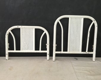Headboard and Footboard - Vintage Metal Child Size Headboard - Wall Hanging - Toddler Head Board - Display - Bed Fame - Repurpose