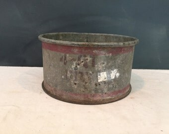 Vintage Galvanized Metal Dry Measure 4 Qts Cup - Bin - Bucket - Pail - Industrial - Farmhouse