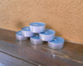 Large tealights in soy wax stained
