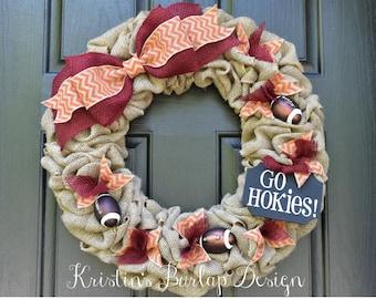 Virginia Tech Go Hokies Burlap wreath, college football wreath, sports wreath