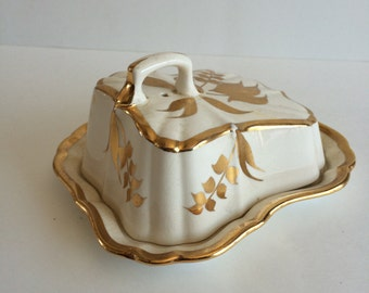 Lancaster & Sandland Gold Trim and Leaf Butter Dish