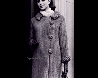 Vintage Coat PDF knitting pattern in instant download version (some crochet)