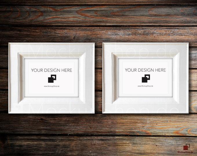 VINTAGE FRAME MOCKUP, Din A5, 2x old white Frame Mockup, Empty Frame Mockup in Vintage Stil, Old Vintage Frame Mockup, Vertical Vintage