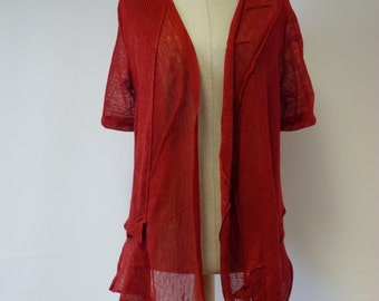 Amazing red linen vest, L size. Casual and fashion together. Only one sample.
