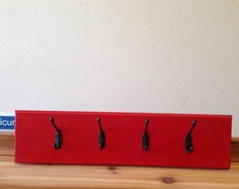 Handmade Red coat hook with black hooks