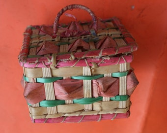 Small box in raffia  Vintage retro BOX petite boite en raphia made in France french