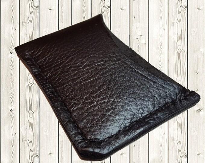 Black leather card wallet Business card holder Minimalist card wallet Gift card holder Credit card wallet Slim card wallet Mens wallet