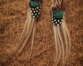 Beautiful Tribal Feather Earrings Rooster extra long
