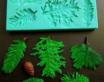 Silicone Mould / Pine branches / Sugarcraft Cake Decorating Fondant / fimo mold
