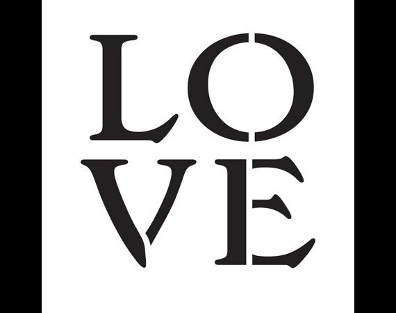 Love - Square - Vintage Serif - Word Stencil - Select Size - STCL1184 - by StudioR12
