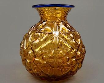 Mid Cetury Vase Blenko Handmade Vintage Retro Applied Handle Glassware Modern Glass Amber Yellow Blue Color Handmade