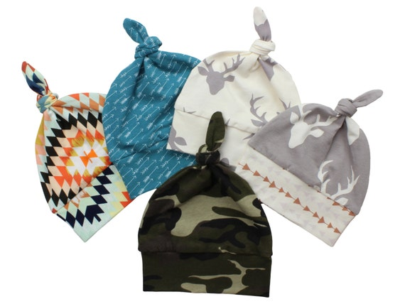 Assorted Top Knot Beanie Baby Hats Toddler Beanie Camo Baby Beanie Serape Tribal Top Knot Arrow Top Knot Hat Deer Baby Beanie Gray Teal