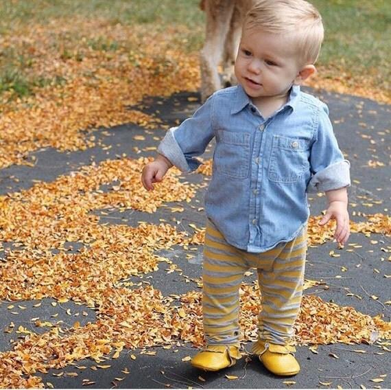 Mustard and Heather Gray Legging Baby Leggings Unisex Leggings Girl Leggings Boy Leggings Girl Baby Pants Toddler Pants Leggings CHOOSE SIZE
